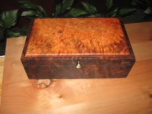 Walnut and Maple Burl Keepsake Box