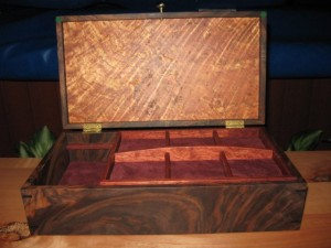 Walnut jewelry box with a stunning Maple Burl lid
